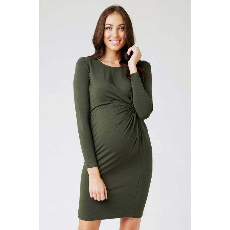 Side Knot Jersey Dress - Duffle