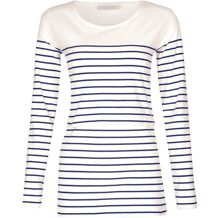 (Large only) Breton Nursing Top - Ecru/Navy