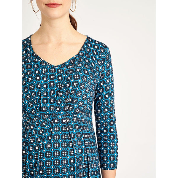 (Small Only) Teal Geometric Maternity and Nursing Tunic Dress