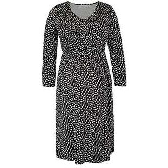 Black & Ecru Dot Maternity and Nursing Tunic Dress