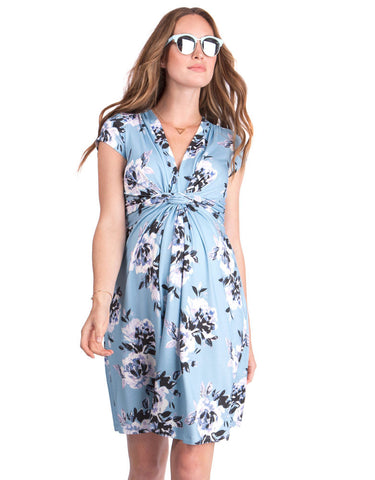 Blue Floral Knotted Maternity Dress