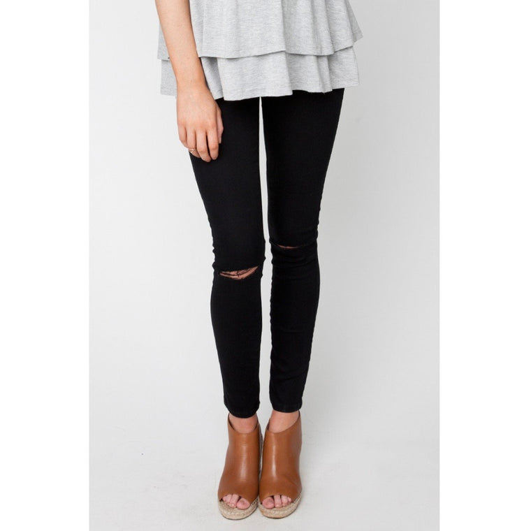 Isla Distressed Jegging - Black (Large only)