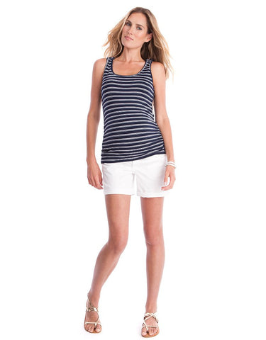 (Medium only) Navy Blue Stripe Maternity & Nursing Tank Top