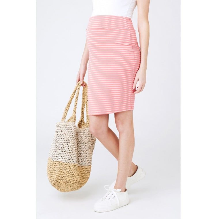 Mia Stripe Skirt - Baked Coral/White
