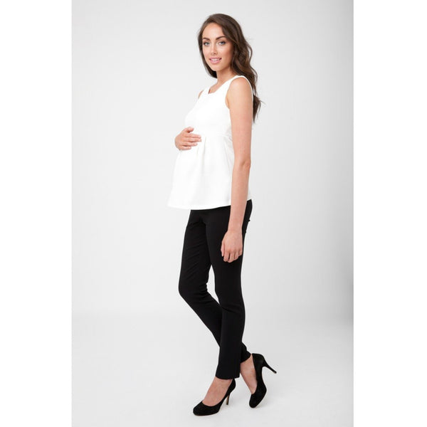 (Large only) Waffle Peplum Top - White
