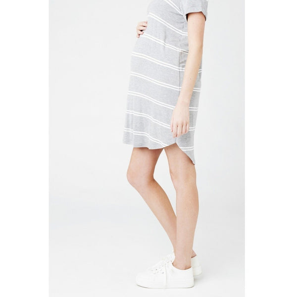 Relaxed T-Shirt Dress - Grey/White