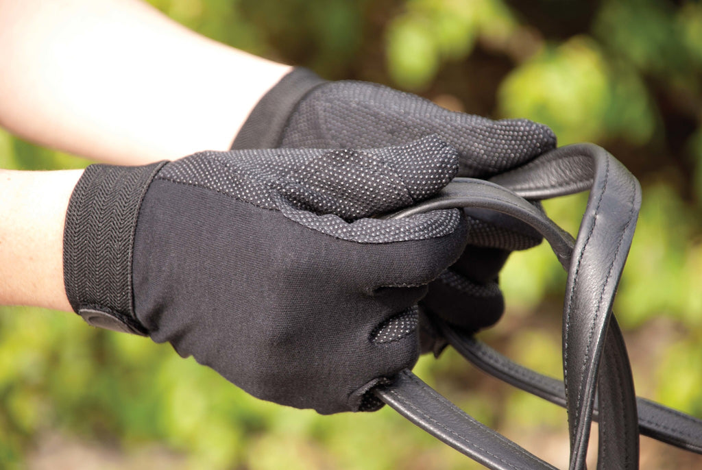 Rhinegold Cotton Pimple Palm Riding Gloves in Black