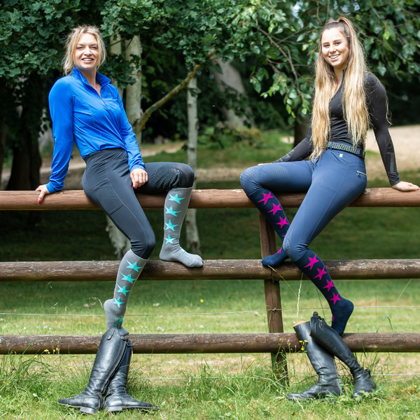 Two riders wearing Samberwill Equestrian Cushioned Sole Horse Riding Socks