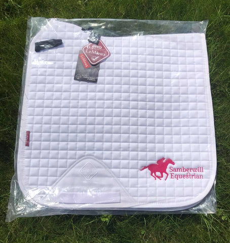 LeMieux ProSport Suede Dressage Square with Samberwill Equestrian Logo