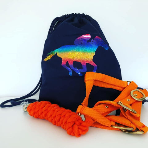 Go Charlie Navy & Rainbow Drawstring Bag