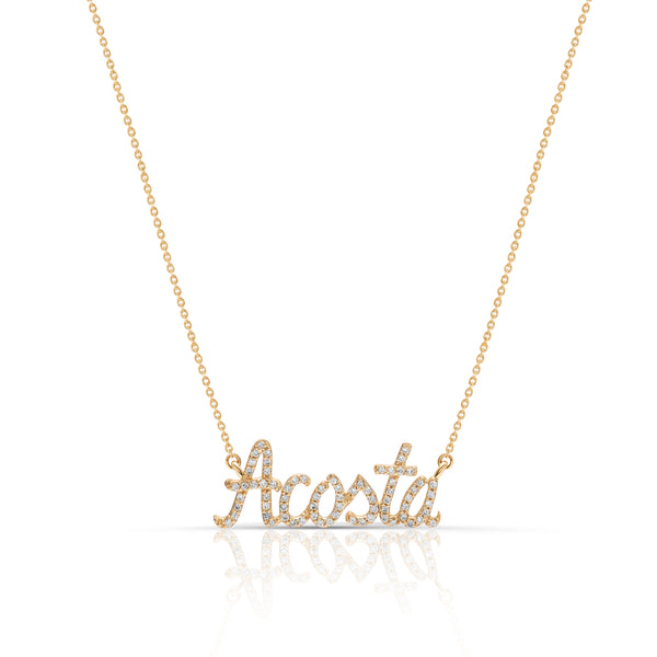 Script - Diamond Nameplate Necklace 1.25""