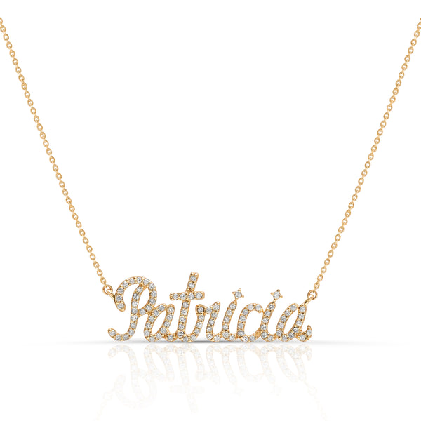 Script - Diamond Nameplate Necklace 1.5""