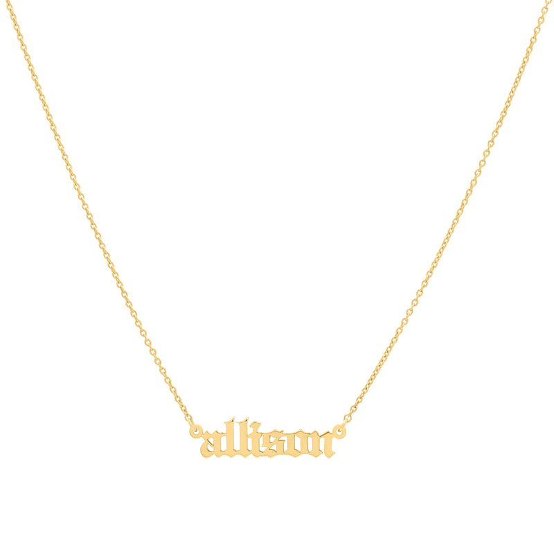 Old English - Yellow Gold Nameplate Necklace