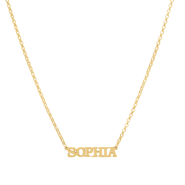 14k Yellow Gold Nameplate Necklace Bold