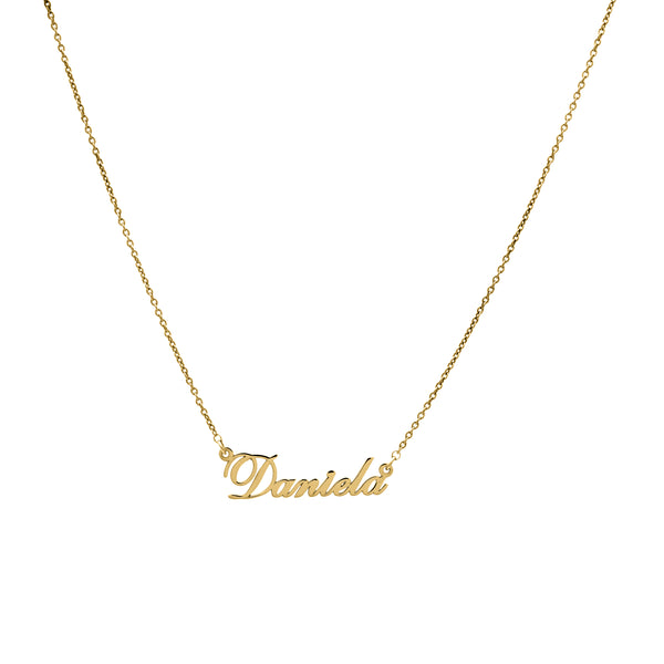 Script - Yellow Gold Nameplate Necklace