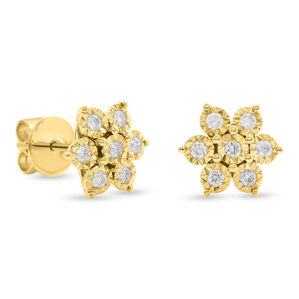 Flower Earrings 18K Yellow Gold 0.25ct