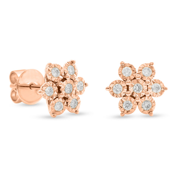 Flower Earrings 18K Rose Gold 0.25ct