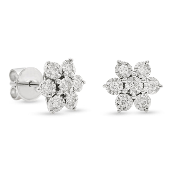 Flower Earrings 18K White Gold 0.25ct