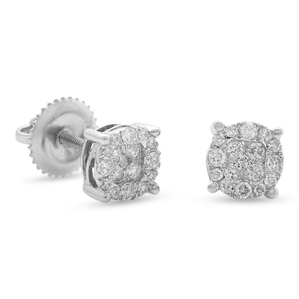 Round Earrings 14k White Gold 0.50ct