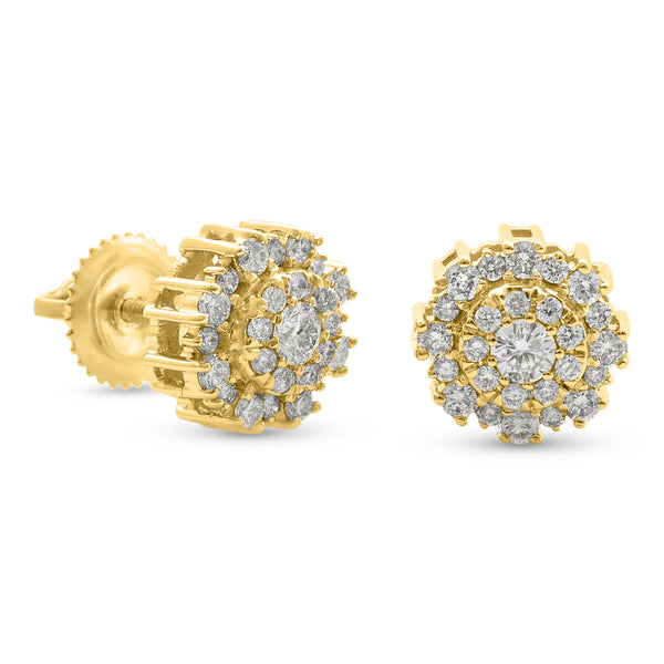 Round Flower Earrings 14K Yellow Gold 0.50ct