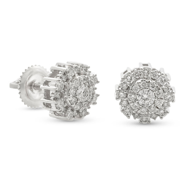 Round Flower Earrings 14K White Gold 0.50ct