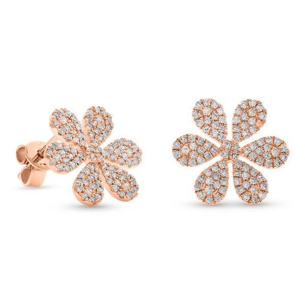 Flowy Flower Earrings 14K Rose Gold 0.52ct