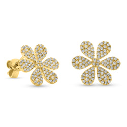 Flowy Flower Earrings 14K Yellow Gold 0.52ct