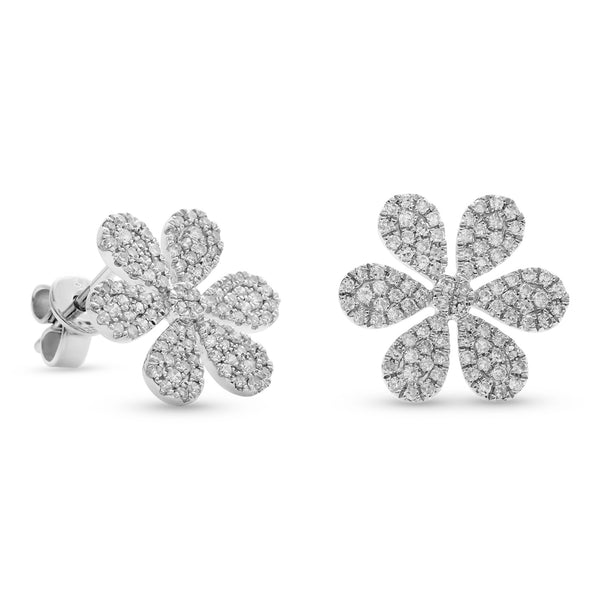 Flowy Flower Earrings 14K White Gold 0.52ct