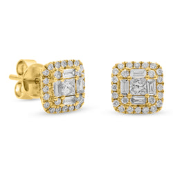 Square Baguette Earrings 18K Yellow Gold 0.68ct