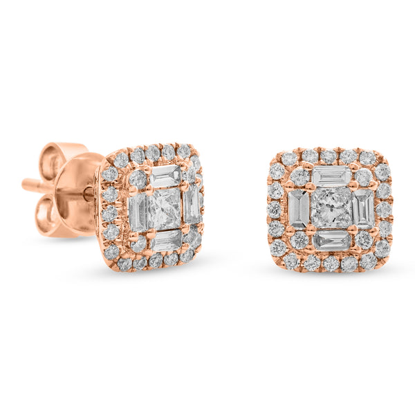 Square Baguette Earrings 18K Rose Gold 0.68ct