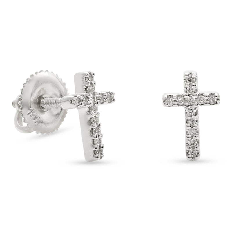 Mini Cross Earrings 14K White Gold 0.06ct