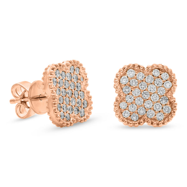 Bubbly Square Earrings 14K Rose Gold 0.61ct