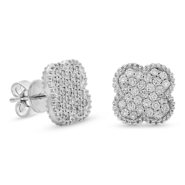 Bubbly Square Earrings 14K White Gold 0.61ct