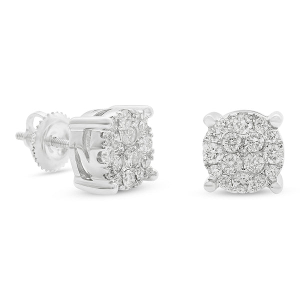 Round Earrings 14K White Gold 0.75ct