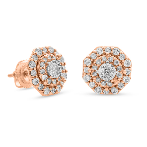 Halo Earrings 14K Rose Gold 0.75ct