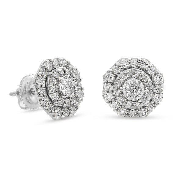 Halo Earrings 14K White Gold 0.75ct