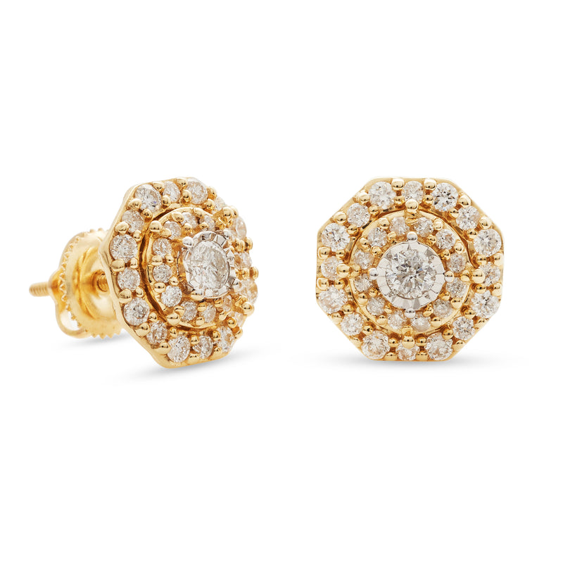 Halo Earrings 14K Yellow Gold 0.75ct