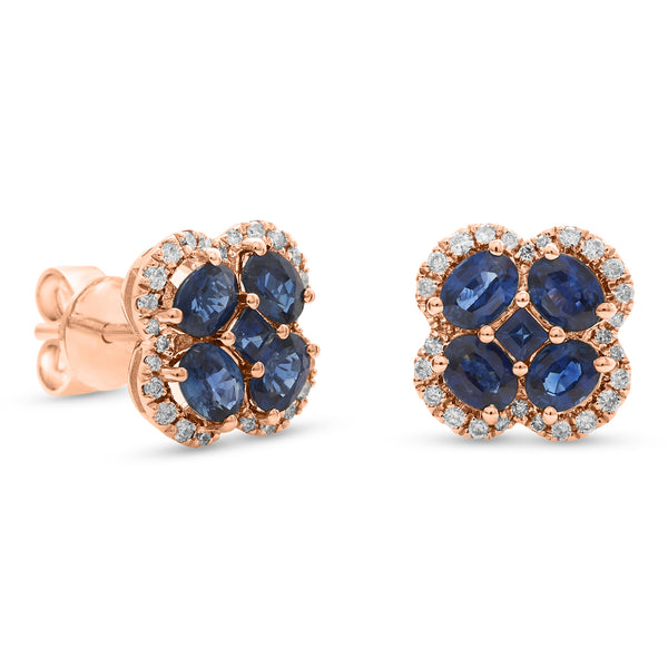 Bubbly Blue Earrings 18K Rose Gold 0.22ct