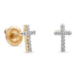 Mini Cross Earrings 14K Yellow Gold 0.06ct