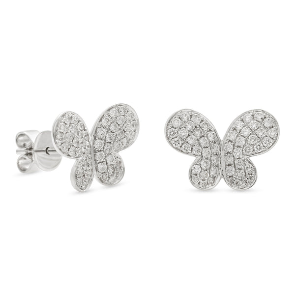 Butterfly Earrings 14K White Gold 0.60ct