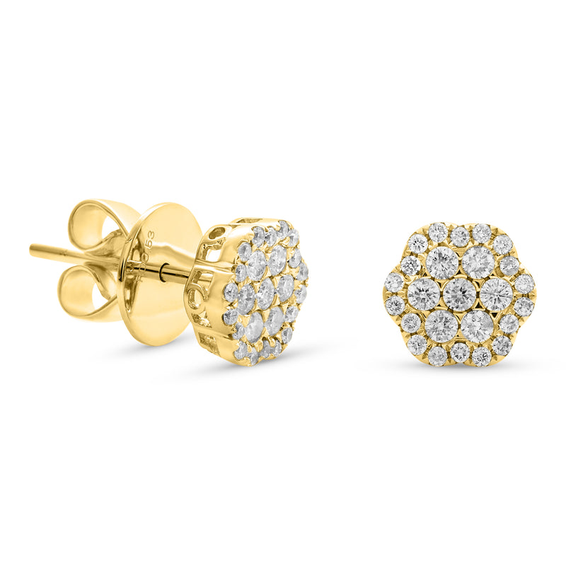 Small Flower Earrings 18K Yellow Gold 0.55ct