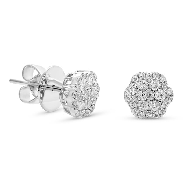 Small Flower Earrings 18K White Gold 0.55ct