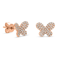 Mini Butterfly Earrings 14K Rose Gold 0.25ct
