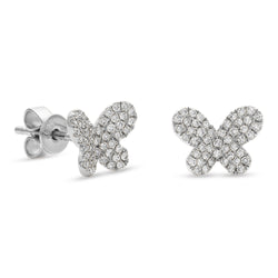 Mini Butterfly Earrings 14K White Gold 0.25ct