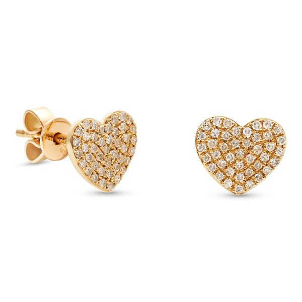 Mini Heart Earrings 14K Yellow Gold 0.24ct