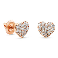 Mini Heart Earrings 14K Rose Gold 0.40ct