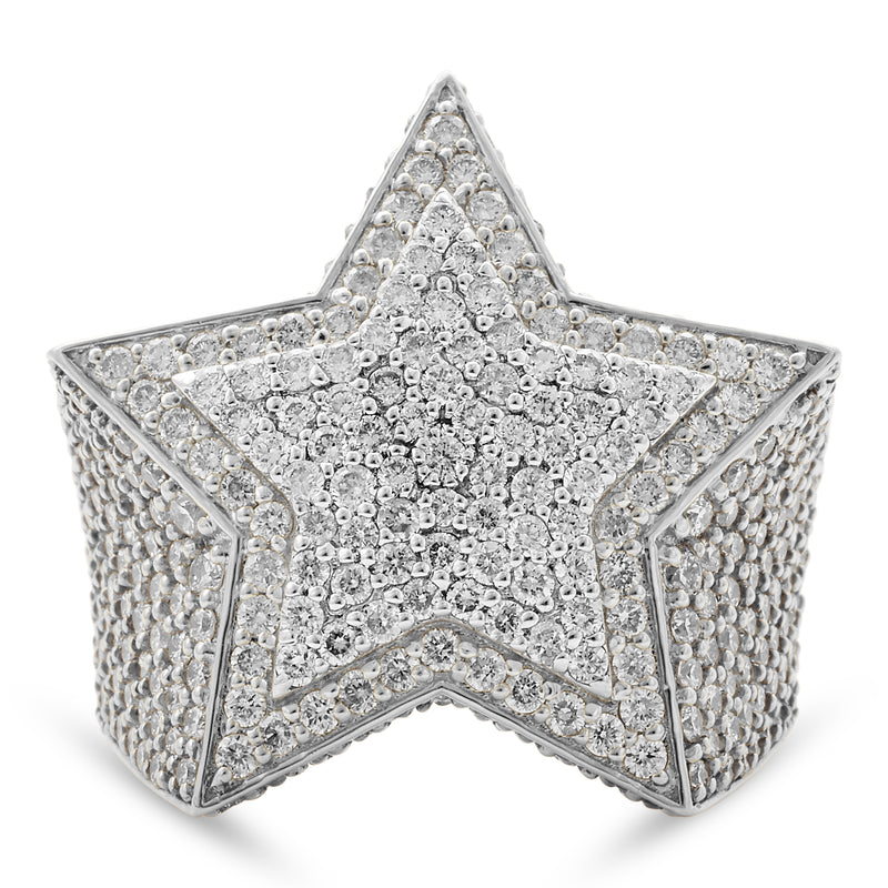 Star Ring 14K White Gold 4.50ct