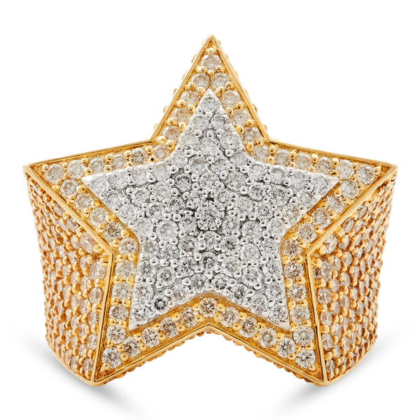 Star Ring 14K Yellow Gold 4.50ct