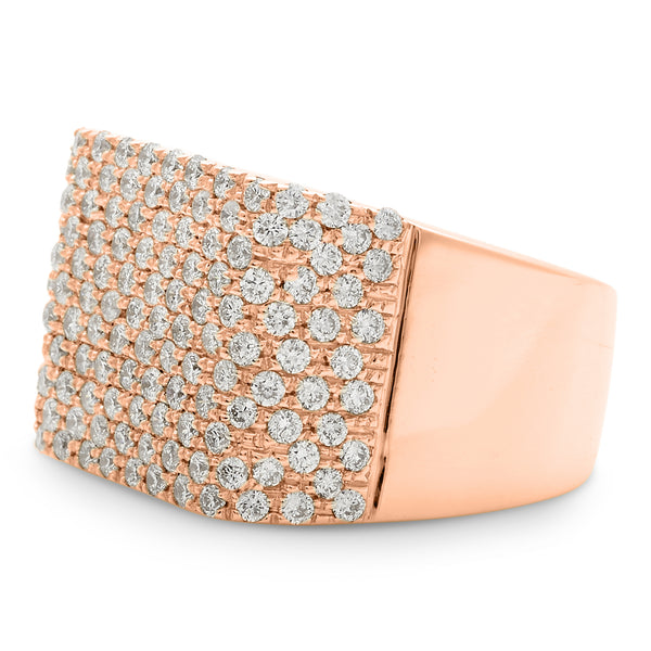 Square Honeycomb Ring 14K Rose Gold 2.18ct