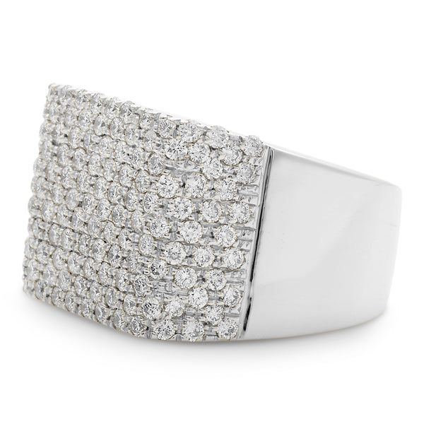 Square Honeycomb Ring 14K White Gold 2.18ct